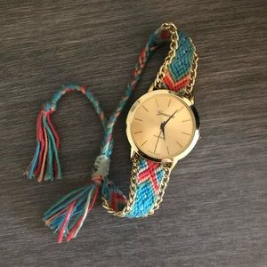 Braided Aztec Watch. Coral and Blue patterned.